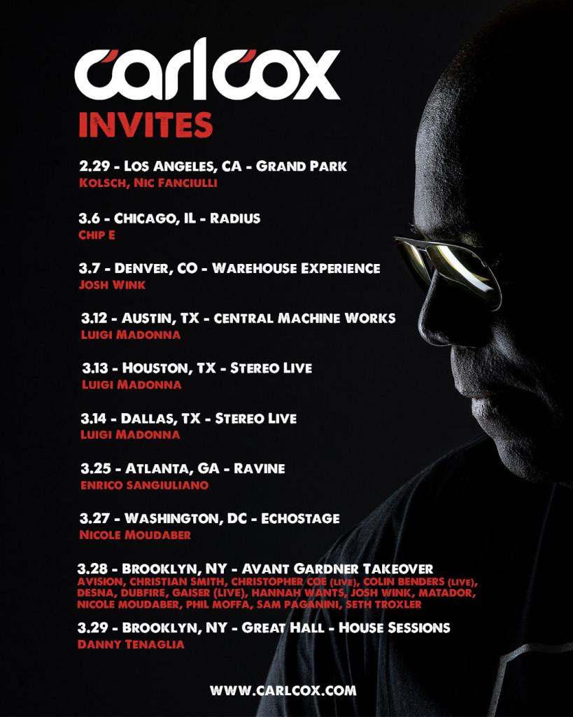 Carl Cox 2020 Tour